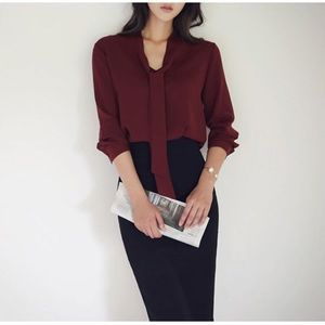 NEW Red Blouse for Work or Date, Korean Fashion